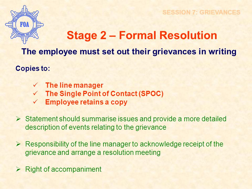 Stage 2 – Formal Resolution