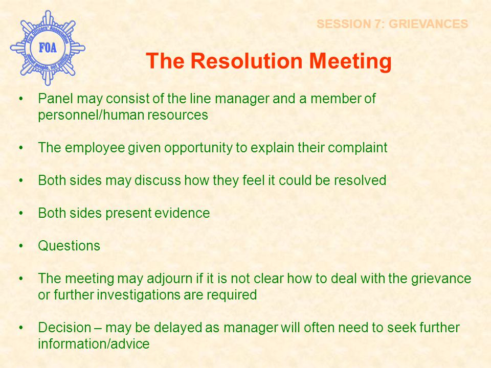 The Resolution Meeting