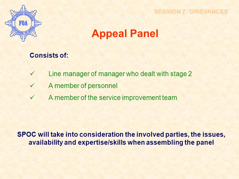 Appeal Panel Consists of: