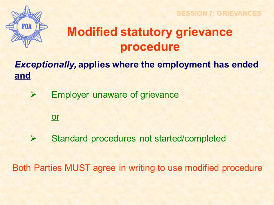 Modified statutory grievance procedure
