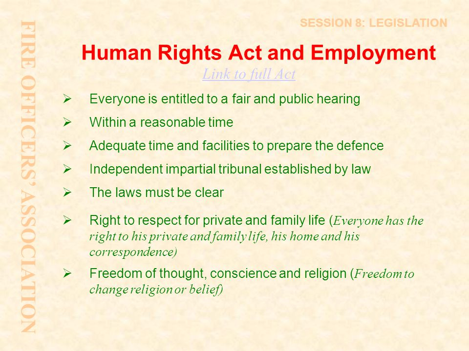 Human Rights Act and Employment