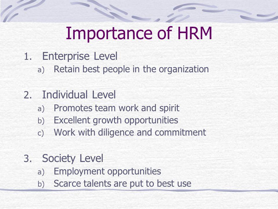 Importance of HRM Enterprise Level Individual Level Society Level