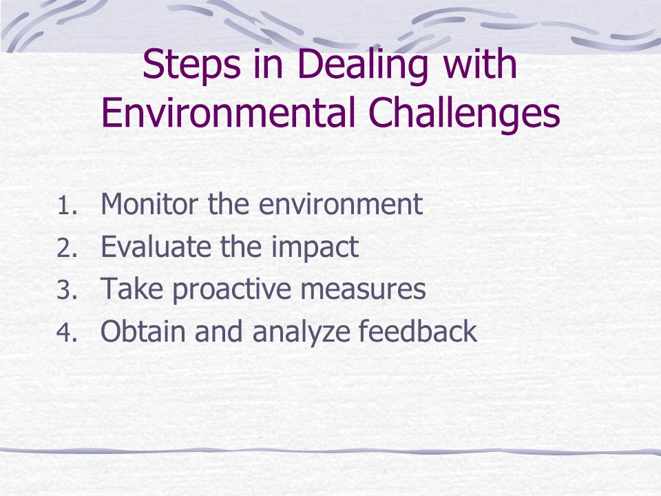 Steps in Dealing with Environmental Challenges