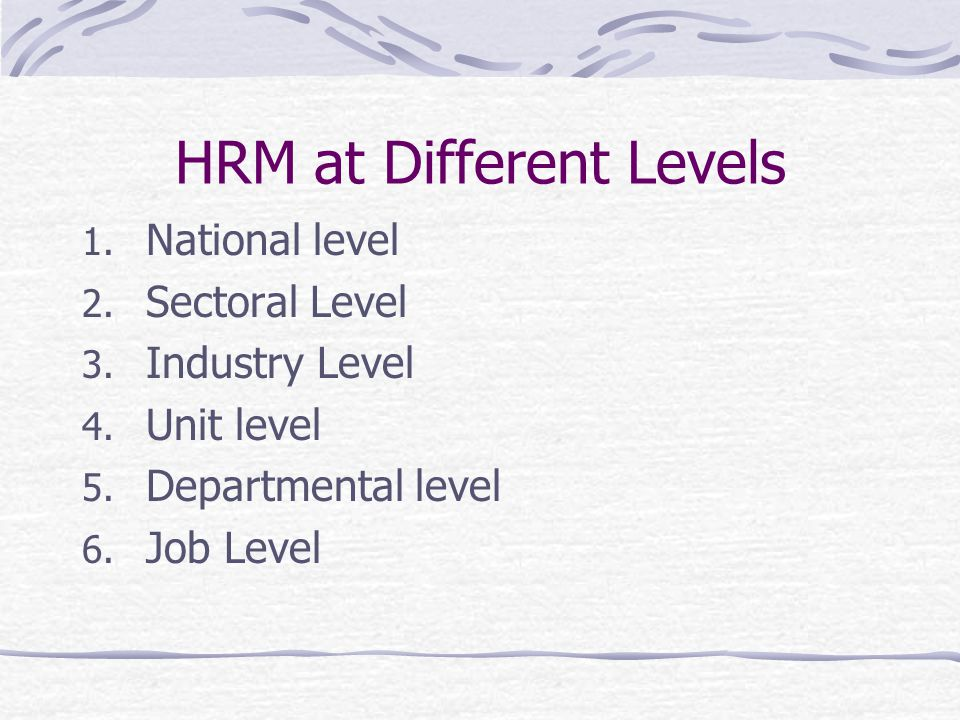 HRM at Different Levels