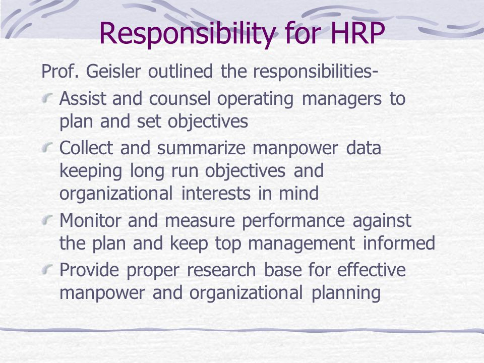 Responsibility for HRP