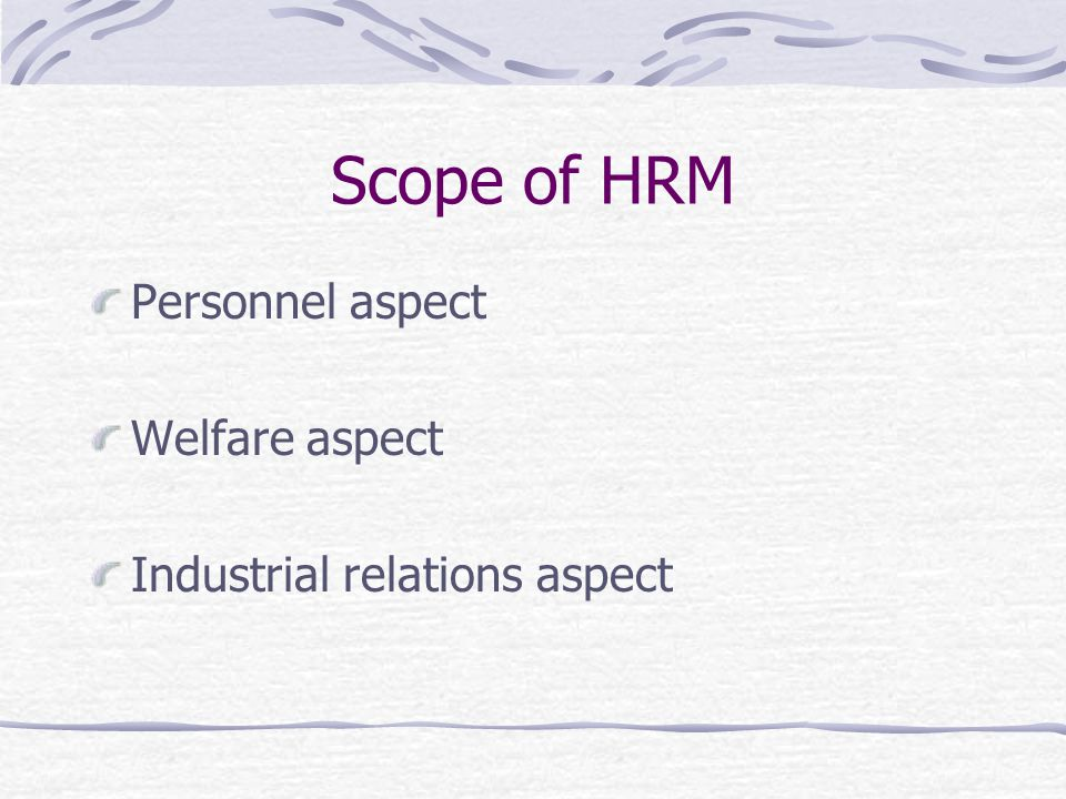 Scope of HRM Personnel aspect Welfare aspect