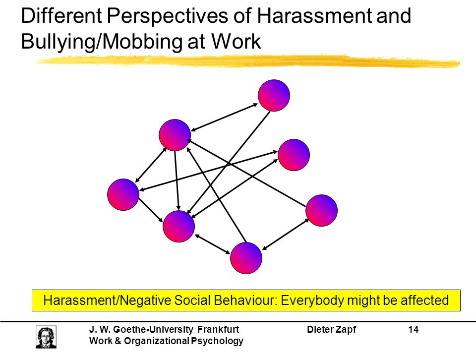 Different Perspectives of Harassment and Bullying/Mobbing at Work