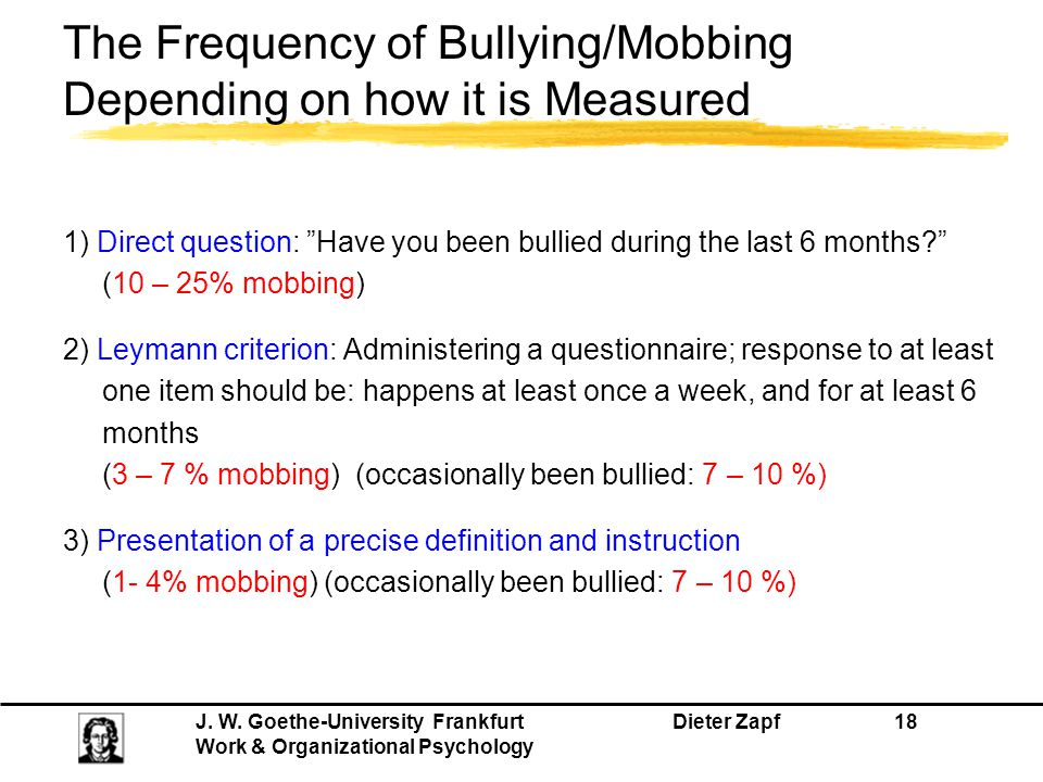 The Frequency of Bullying/Mobbing Depending on how it is Measured