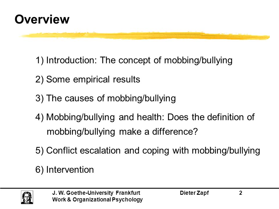 Overview 1) Introduction: The concept of mobbing/bullying