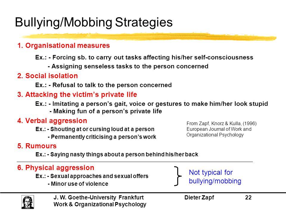 Bullying/Mobbing Strategies