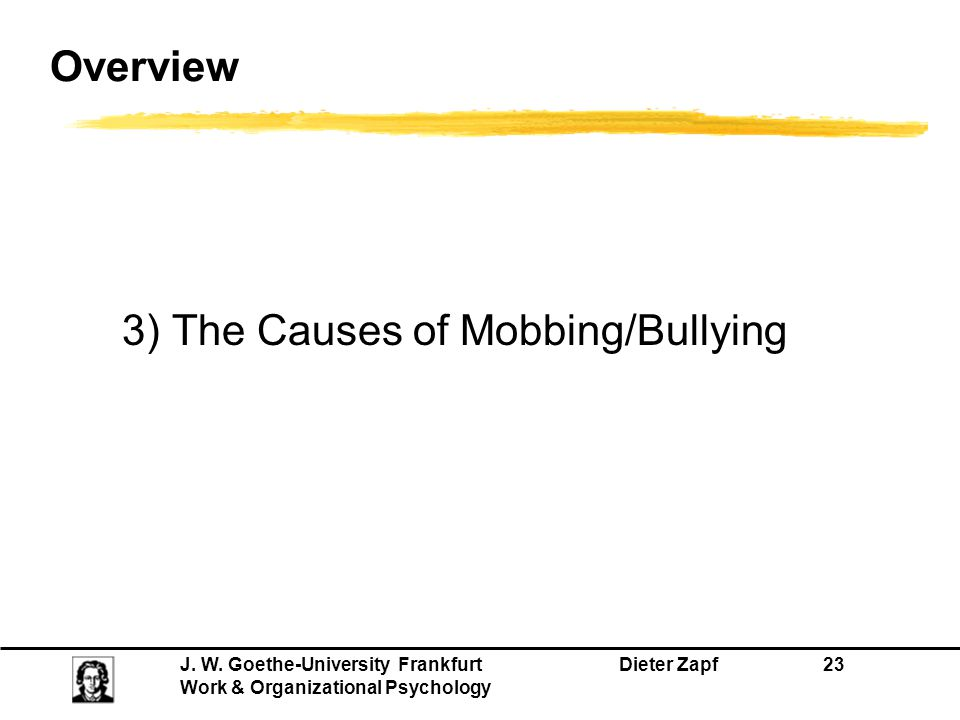 Overview 3) The Causes of Mobbing/Bullying