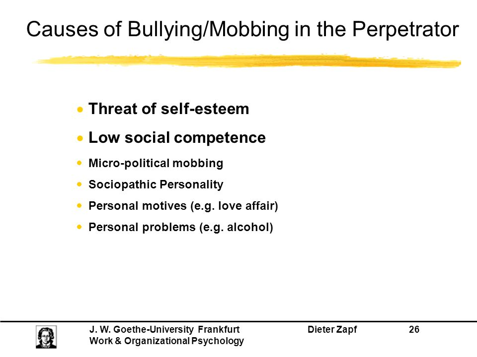 Causes of Bullying/Mobbing in the Perpetrator
