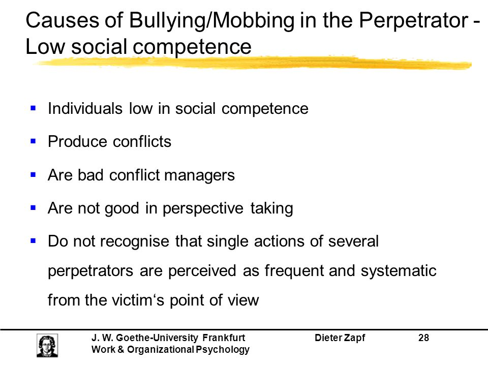 Causes of Bullying/Mobbing in the Perpetrator - Low social competence