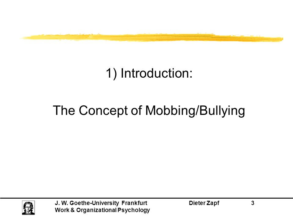 The Concept of Mobbing/Bullying