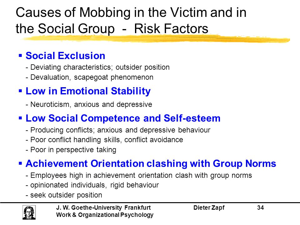 Causes of Mobbing in the Victim and in the Social Group - Risk Factors