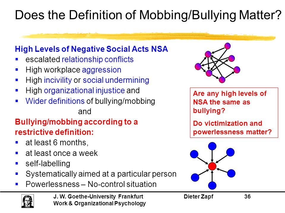 Does the Definition of Mobbing/Bullying Matter