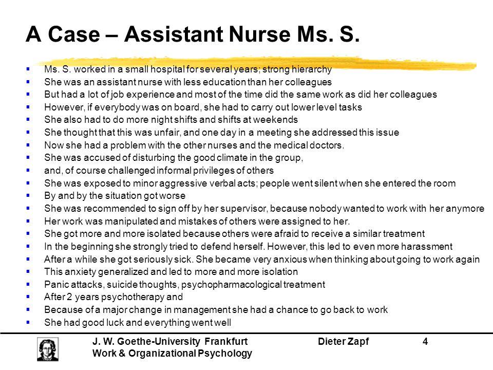 A Case – Assistant Nurse Ms. S.