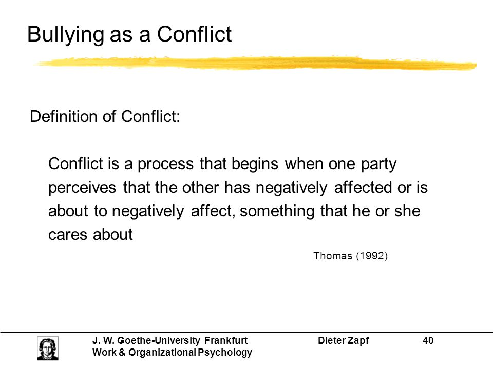 Bullying as a Conflict