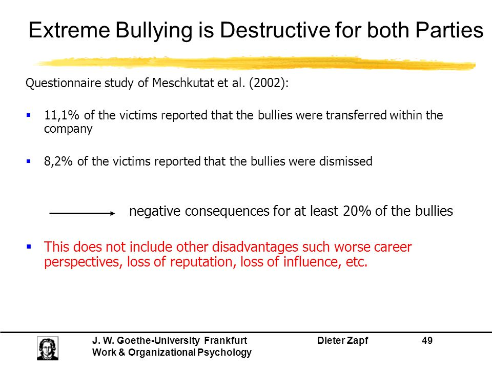 Extreme Bullying is Destructive for both Parties