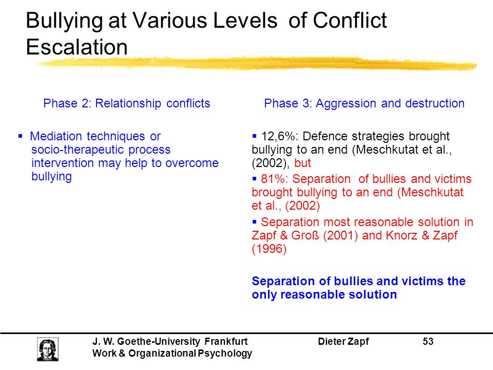 Bullying at Various Levels of Conflict Escalation