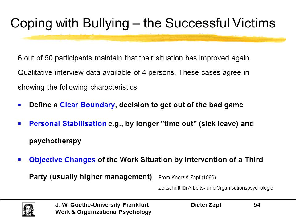 Coping with Bullying – the Successful Victims