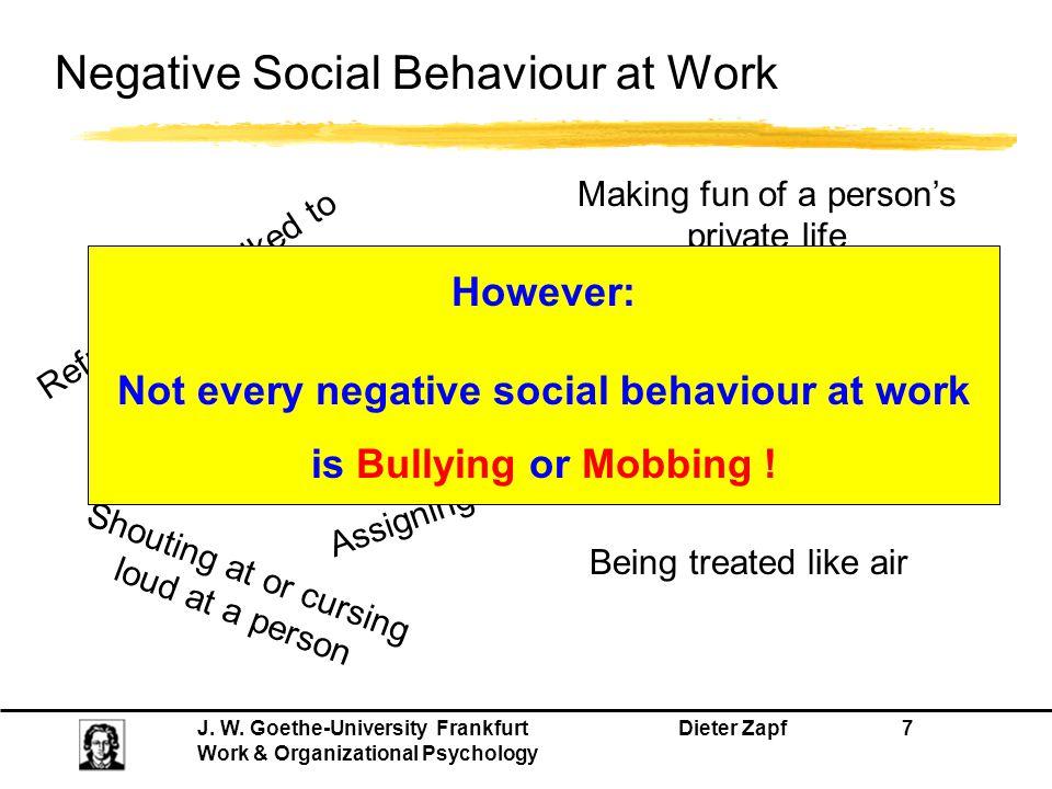 Negative Social Behaviour at Work