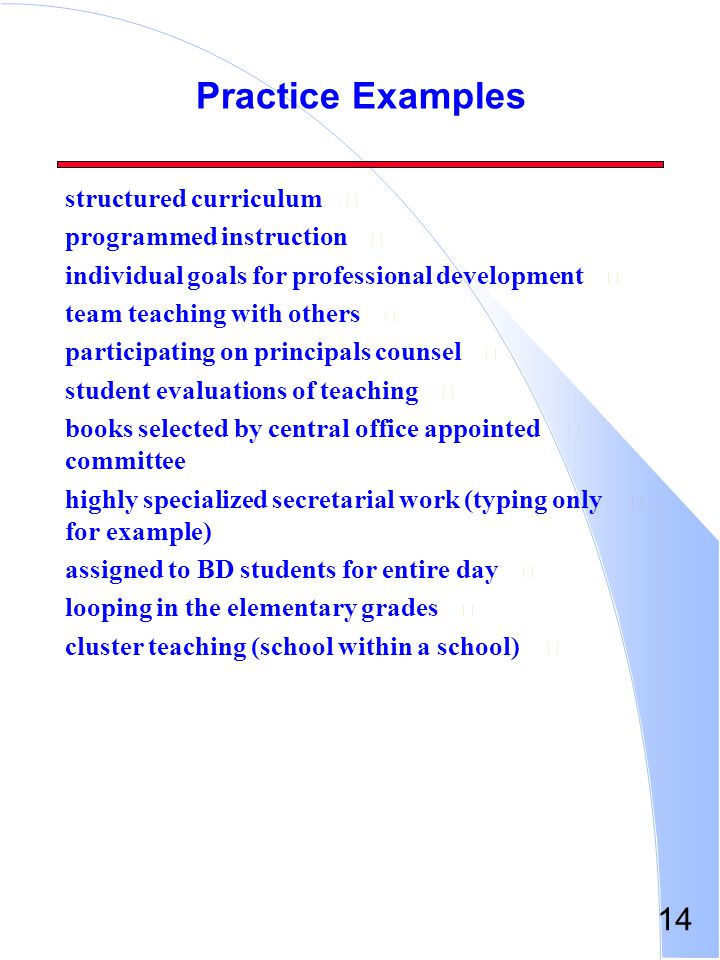 Practice Examples structured curriculum programmed instruction