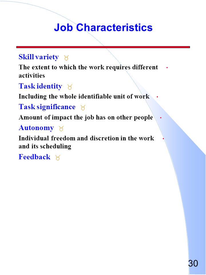 Job Characteristics Skill variety Task identity Task significance