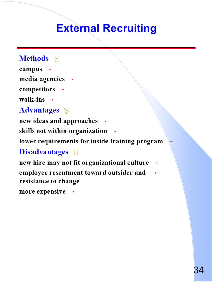 External Recruiting Methods Advantages Disadvantages campus