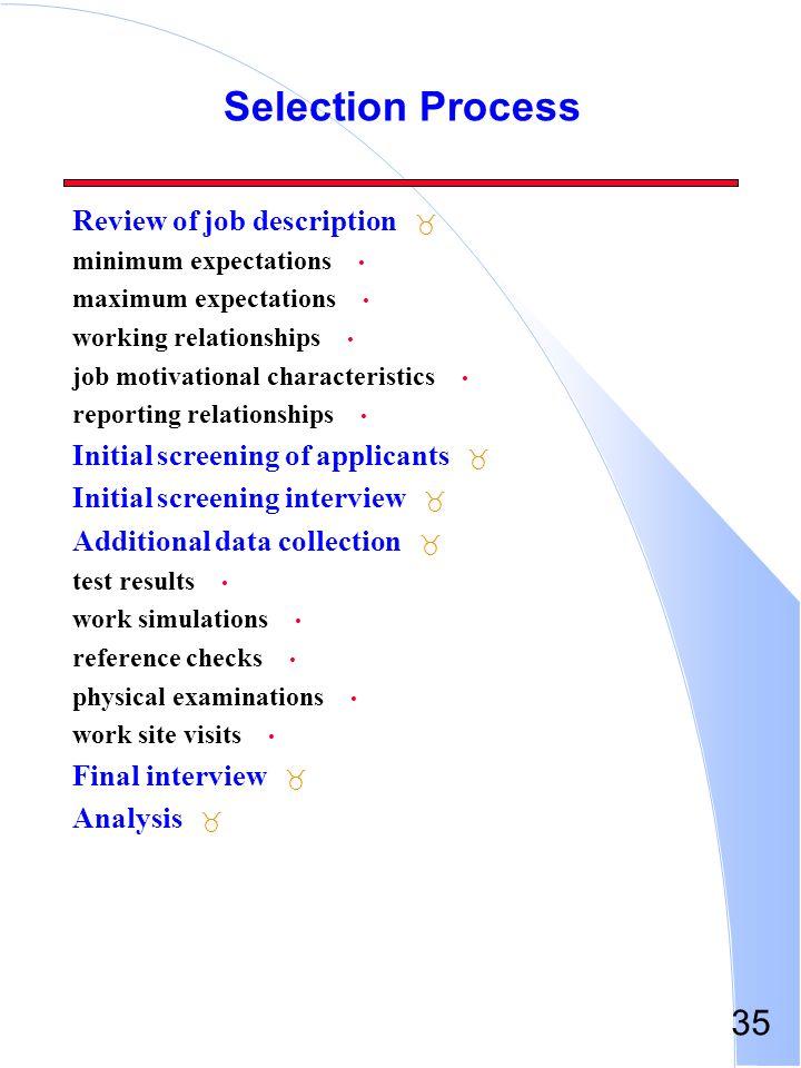 Selection Process Review of job description