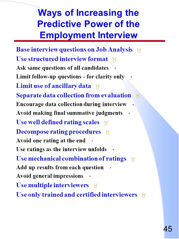 Ways of Increasing the Predictive Power of the Employment Interview
