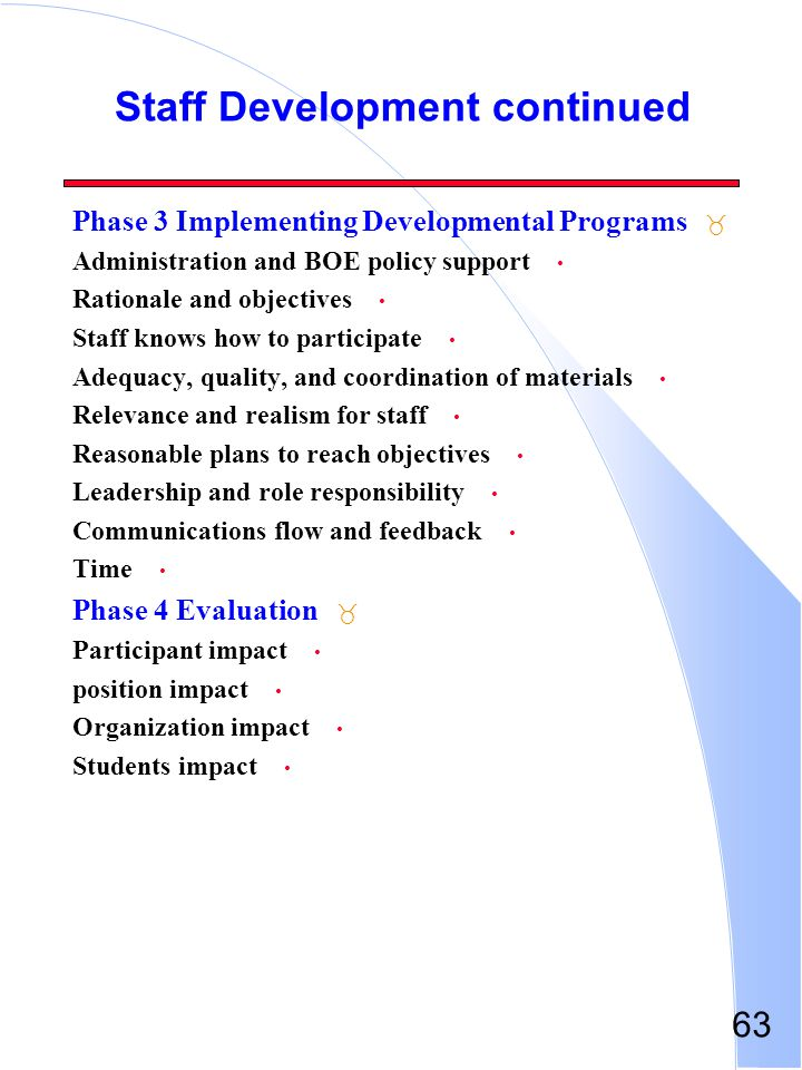 Staff Development continued