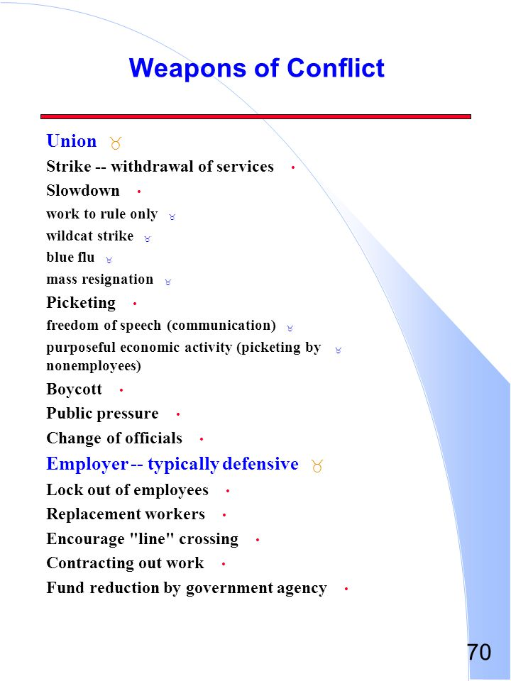 Weapons of Conflict Union Employer -- typically defensive