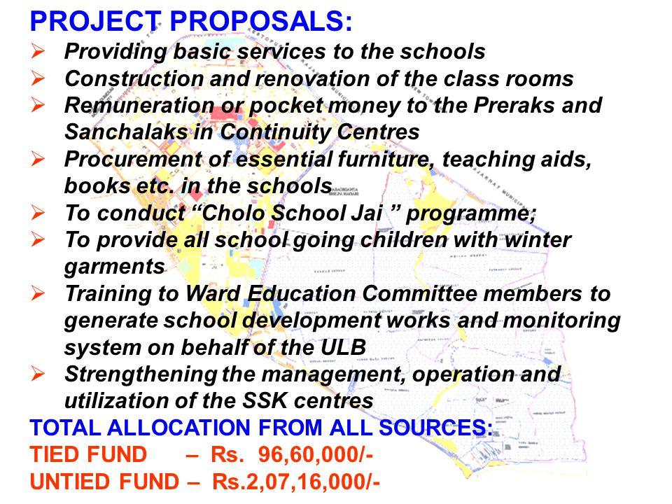 PROJECT PROPOSALS: Providing basic services to the schools