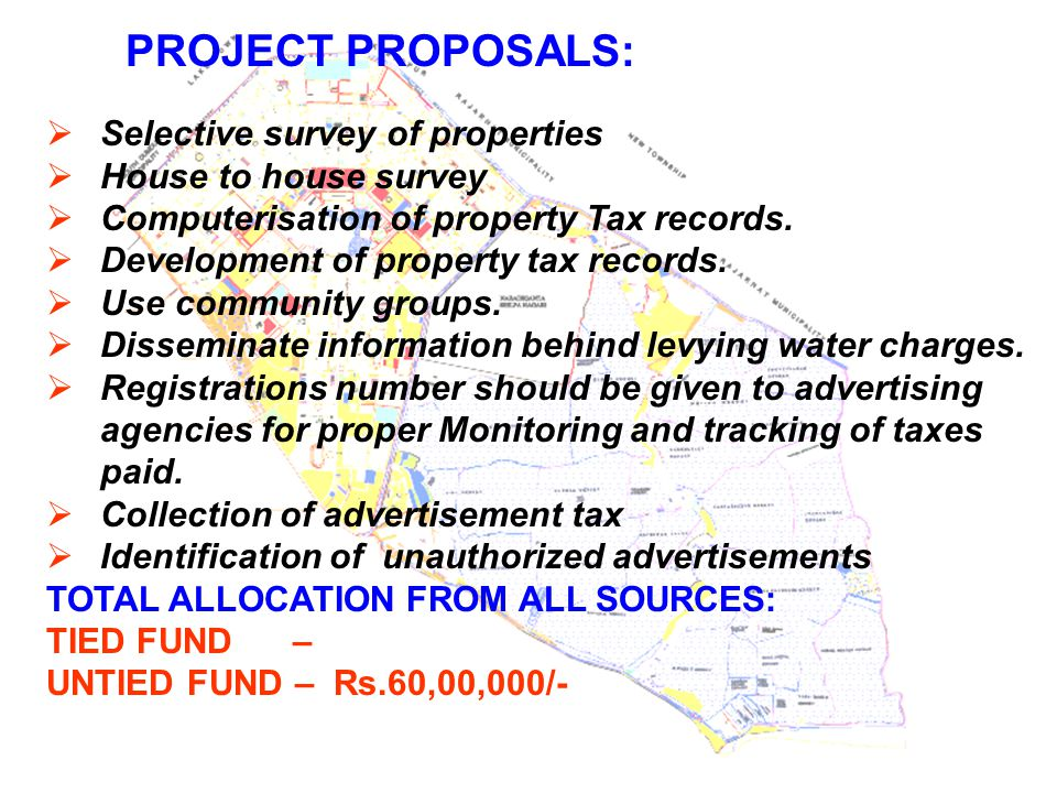 PROJECT PROPOSALS: Selective survey of properties