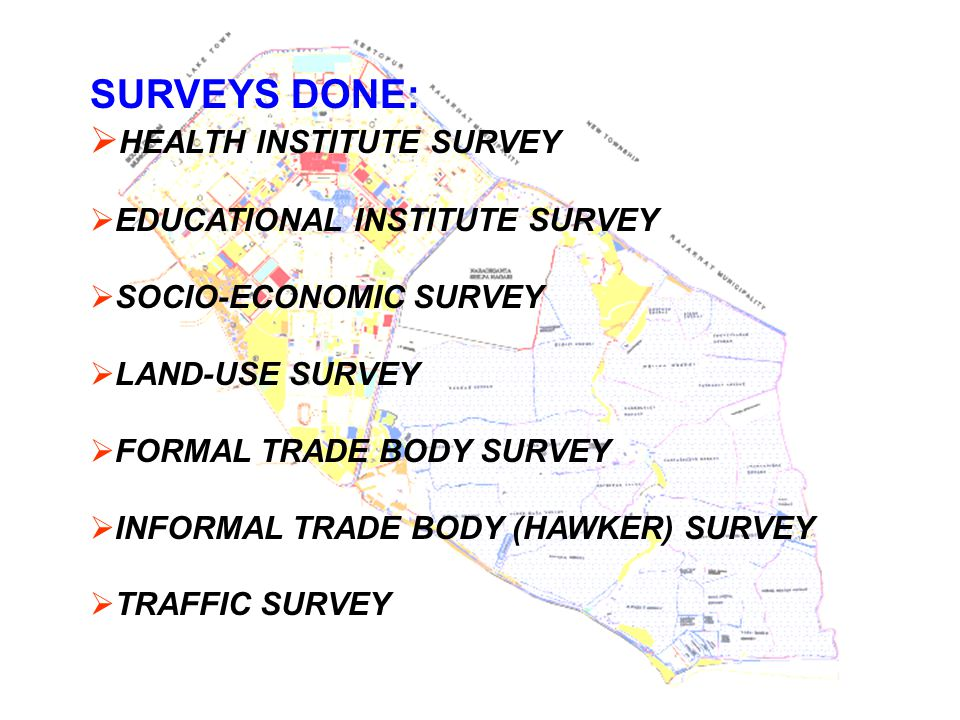 SURVEYS DONE: HEALTH INSTITUTE SURVEY EDUCATIONAL INSTITUTE SURVEY
