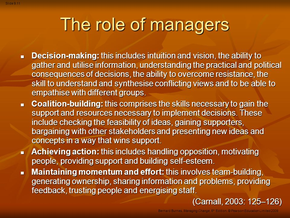 The role of managers