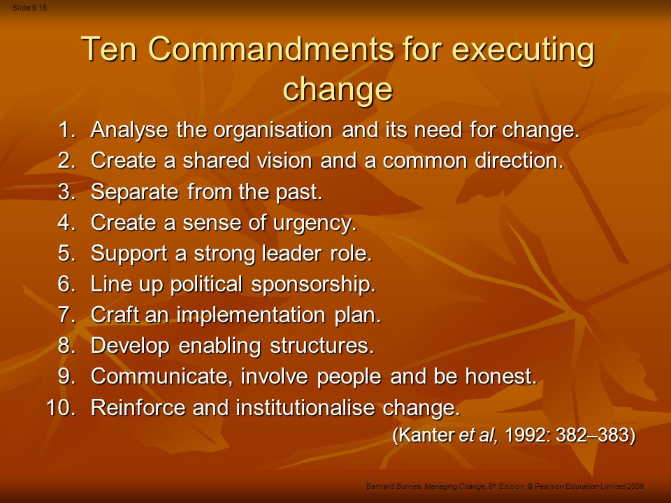Ten Commandments for executing change