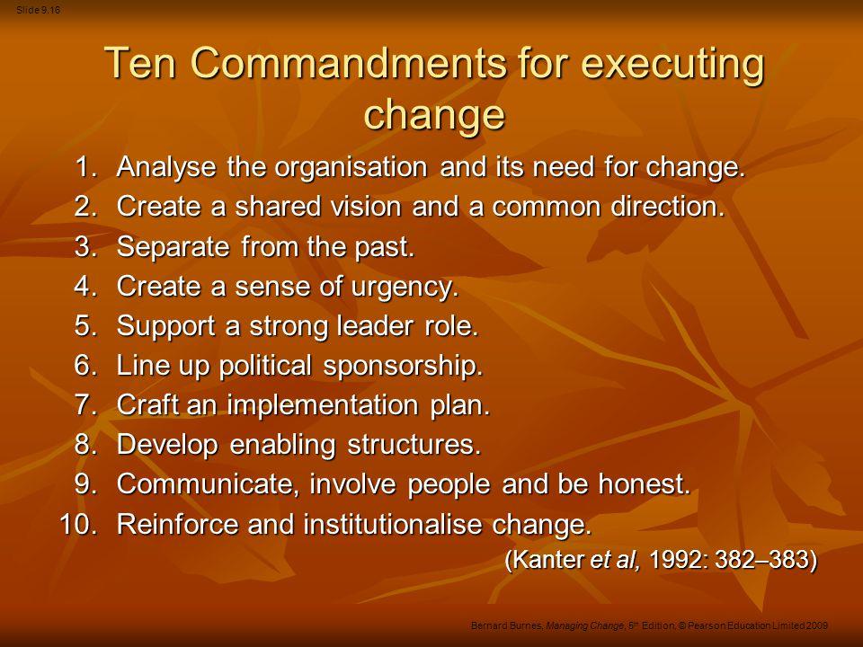 Ten Commandments for executing change