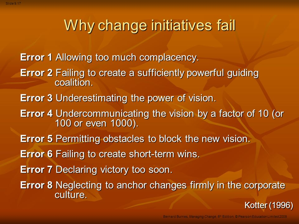 Why change initiatives fail