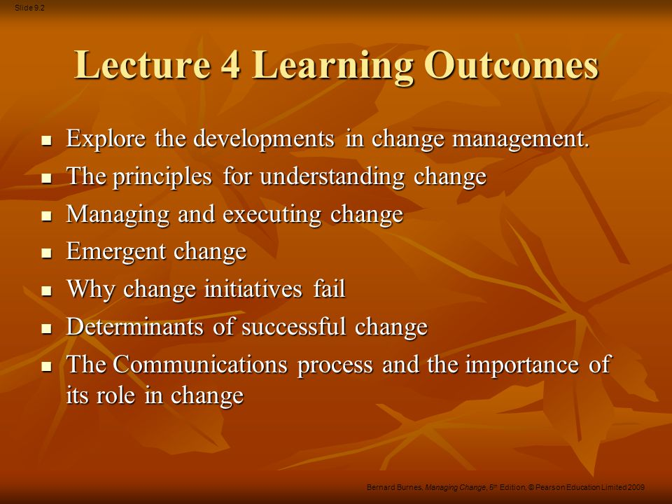 Lecture 4 Learning Outcomes