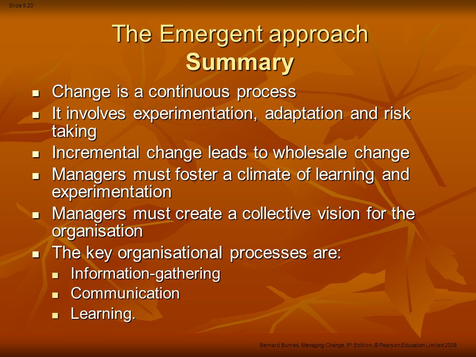 The Emergent approach Summary