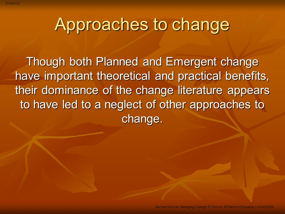 Approaches to change