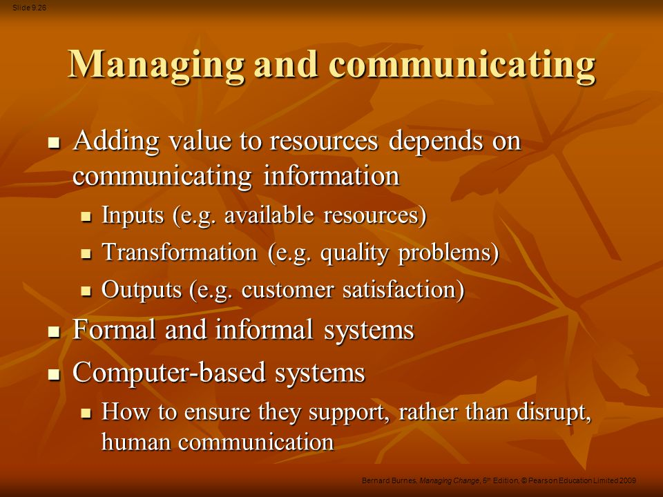 Managing and communicating