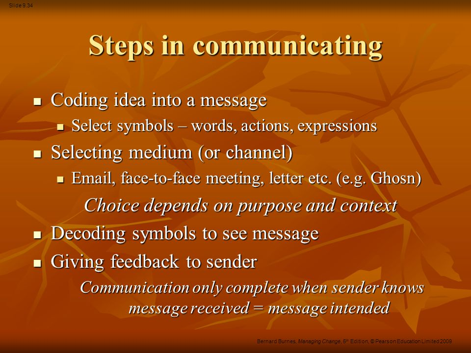 Steps in communicating