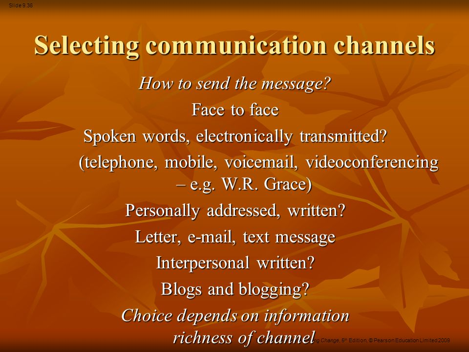 Selecting communication channels