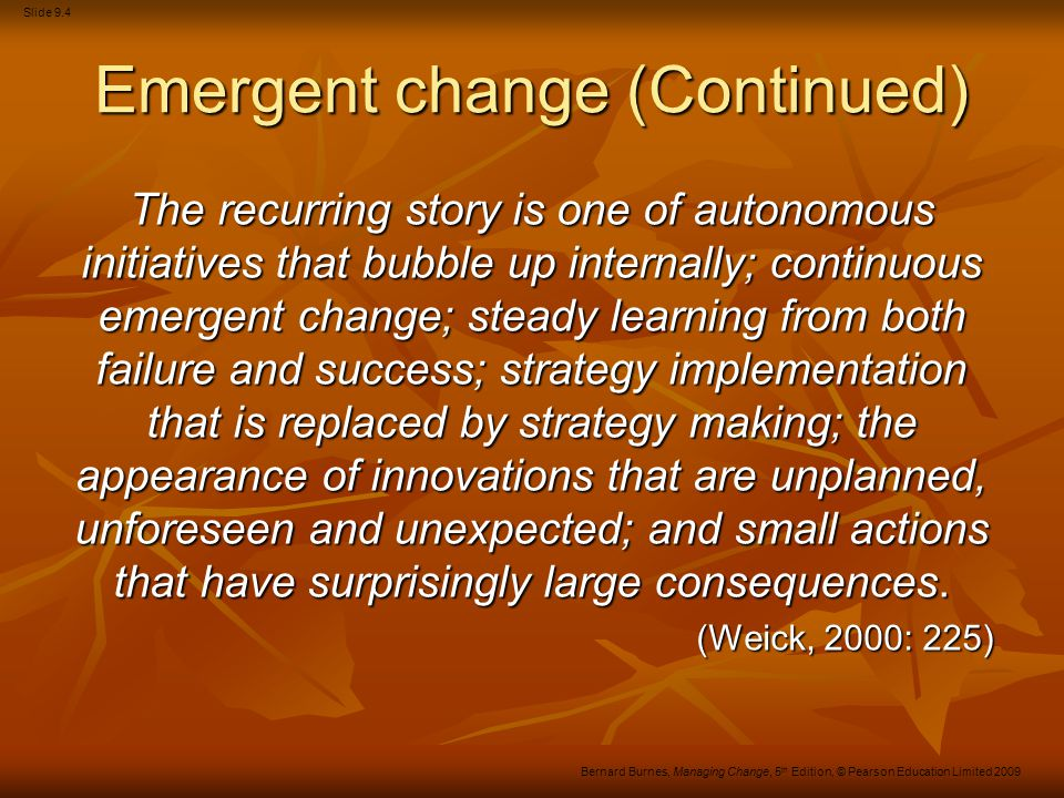 Emergent change (Continued)