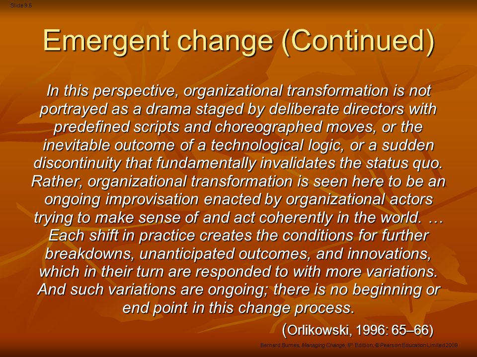 Emergent change (Continued)
