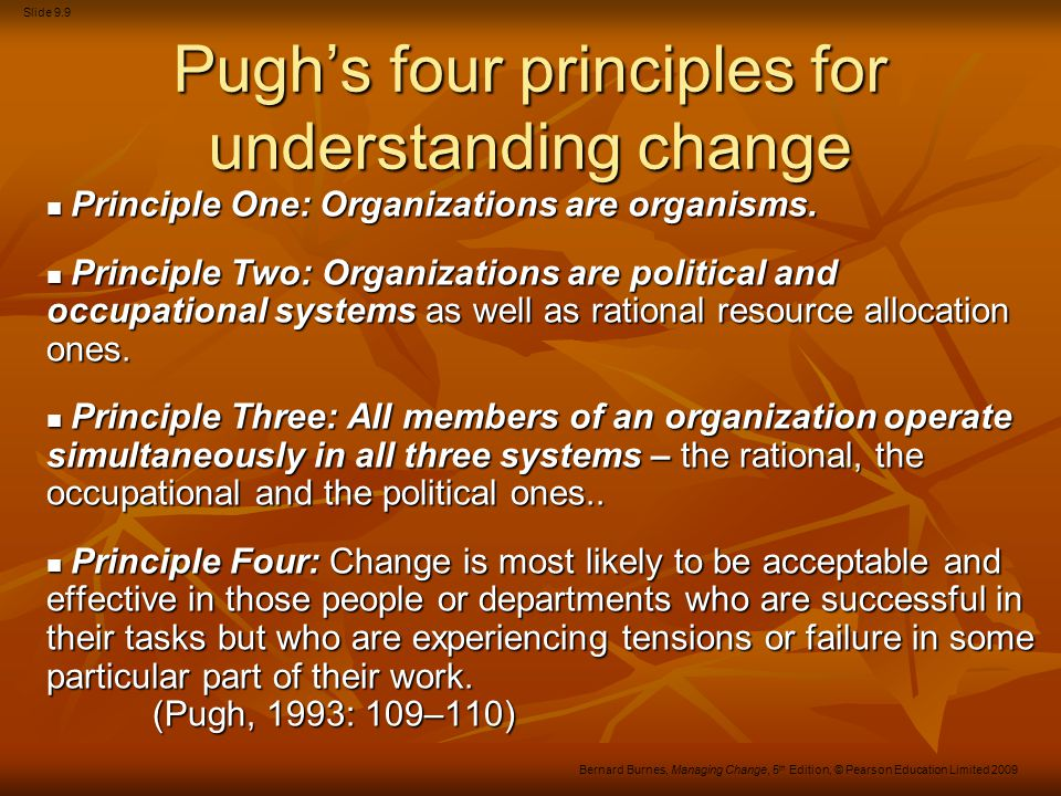Pugh's four principles for understanding change