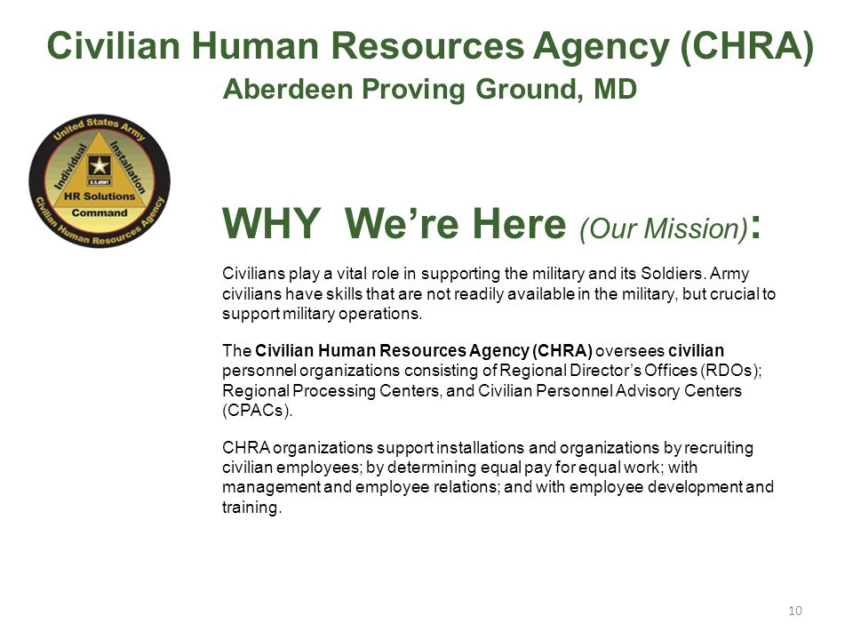 Civilian Human Resources Agency (CHRA) Aberdeen Proving Ground, MD